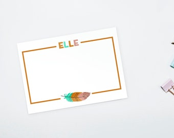 Personalized Stationery - Feather Note Cards