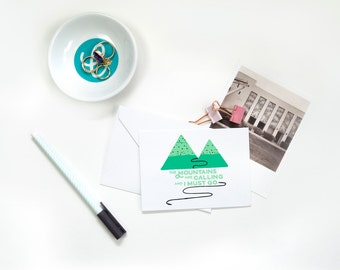 Folded Note Cards - Mountains Are Calling