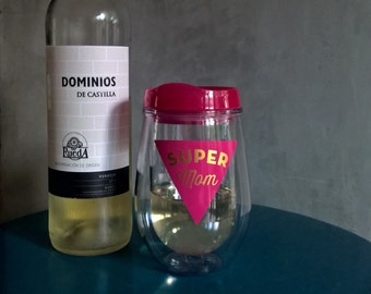 Super Mom Wine Tumbler, Mothers Day Gift, Valentines Gift, Wine Gift, Pink Wine Sippy, Mom Squad Gift