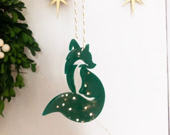 Fox Ornament, Modern Ornament, Acrylic Ornament, Green Acrylic Fox Ornament, Modern Christmas, Stocking Ornament, Red Ornament