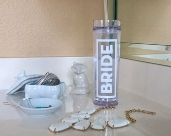 Personalized Skinny Bottle - Bride, Hydrate, Skinny Tumbler Cups, Gift for Her, Bridesmaid Gift, Bridesmaid Tumbler, Bride Squad, Team Bride