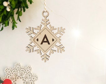 Snowflake Monogram Ornament, Monogram Gift Tag, Acrylic Ornament, Christmas 2018 Ornament, Modern Christmas, Holiday Gift, Stocking Ornament