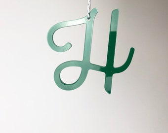 Monogram Ornament, Modern Ornament, Acrylic Ornament, Green Initial Ornament, Modern Christmas, Monogram Gift, Red Ornament, Gift Tag