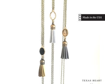 Tassel Necklace - Mixed Metallics, Tassel & Stone Necklace
