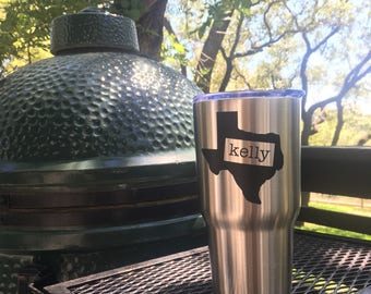 Texas Monogram Tumbler, Monogram Coffee Cup, Stainless Coffee Tumbler, Texas Gift, Stainless Coffee Cup, Insulated Monogram Cup