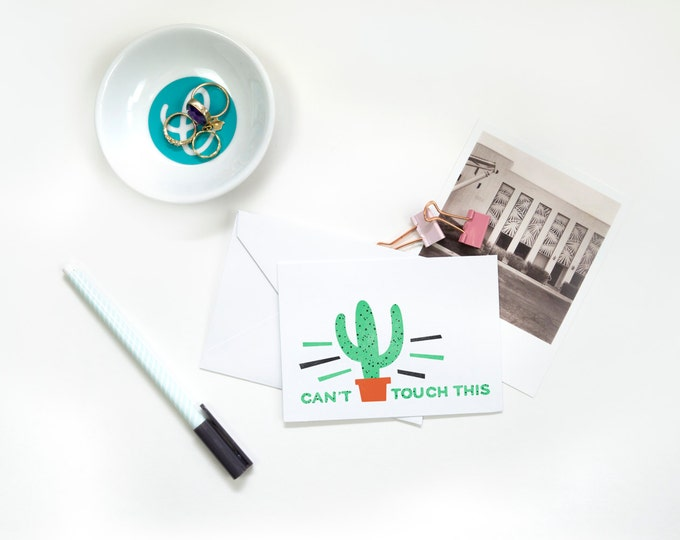 Featured listing image: Folded Note Cards - You Can't Touch This, Funny Stationery, Succulent Note Cards, Thank You Notes, Gift for Her, Cactus Art, Cactus Love