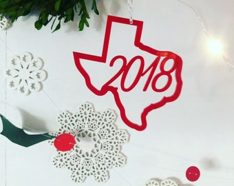 Texas Ornament, Modern Ornament, Acrylic Ornament, Texas 2018 Ornament, Modern Christmas, Texas Gift, Red Ornament
