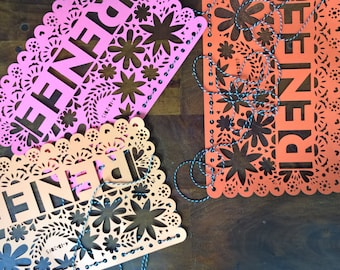 Papel Picado Bunting, Fiesta Garland, Personalized Party Decor, Mexican Wedding, Wedding Garland, Birthday Garland, Party Bunting