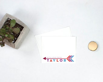 Personalized Flat Note Cards - Arrow
