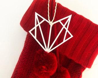 Geometric Fox Ornament, Modern Ornament, Acrylic Ornament, White Acrylic Fox Ornament, Modern Christmas, Stocking Ornament, Red Ornament