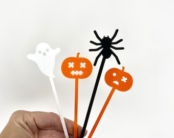 Here for the Boos Cocktail Stirrers, Halloween Swizzle Sticks