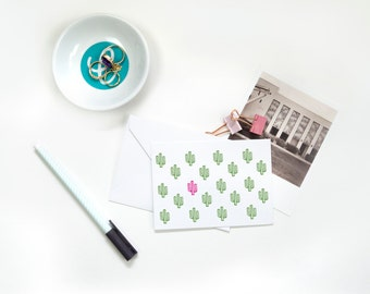 Folded Note Cards - Cactus Pattern