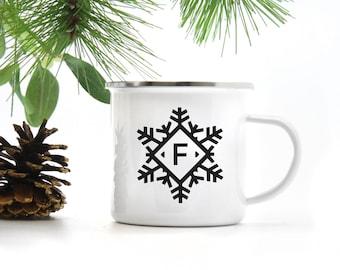 Mug - Snowflake Monogram, Gift Mug, Birthday Gift, Gift for Her, Christmas Gift, Coffee Mug, Typography Gift, Black & White Mug, Holiday Mug