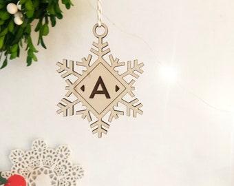 Snowflake Monogram Ornament, Monogram Gift Tag, Acrylic Ornament, Christmas 2018 Ornament, Modern Christmas, Holiday Gift, Stocking Ornament