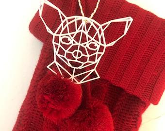 Geometric Chihuahua Ornament, Modern Ornament, Acrylic Ornament, White Acrylic Dog Ornament, Modern Christmas, Stocking Ornament, Dog Gift