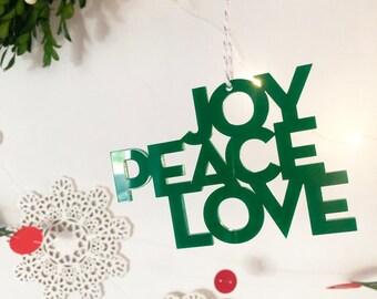 Peace Love Joy Ornament, Modern Ornament, Acrylic Ornament, Christmas Ornament, Modern Christmas, Holiday Gift, Red Ornament