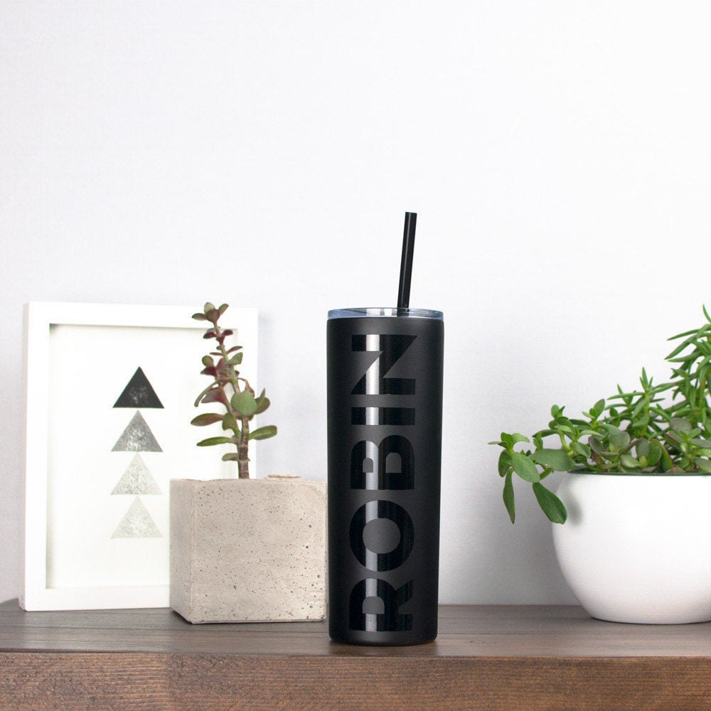 Personalized Stainless Tumbler - Matte Black, Personalized