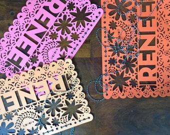 Papel Picado Bunting, Fiesta Garland, Personalized Party Decor, Mexican Wedding, Wedding Garland, Birthday Garland, Party Bunting