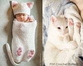 Baby Cat Cocoon Hat Booties Crochet Pattern