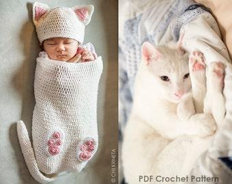 9dcba522421 Baby Cat Cocoon Hat   Booties Crochet Pattern