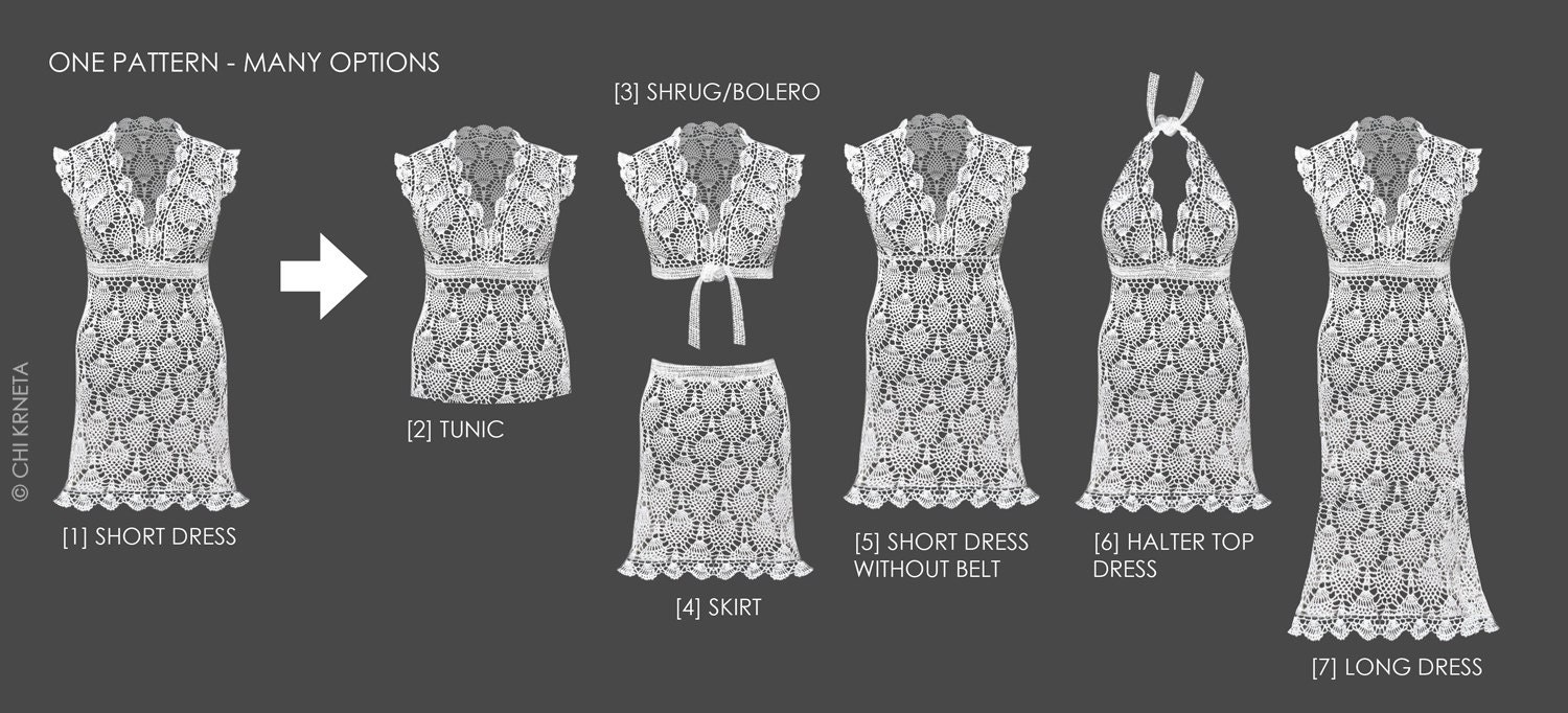 Crochet Lace / Wedding Dress Pattern from ChiKDesigns on Etsy Studio