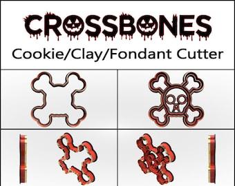 Skull Crossbones Cookie Cutter, 3D Printed, Halloween Cookie Cutter, Crossbone, Custom Cookie, Clay Cutter, Fondant Cutter, FunOrders