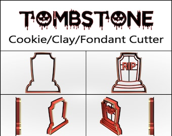 Tombstone Cookie Cutter, 3D Printed, Halloween Cookie Cutter,  Cookie Cutter, Custom Cookie, Clay Cutter, Fondant Cutter, FunOrders