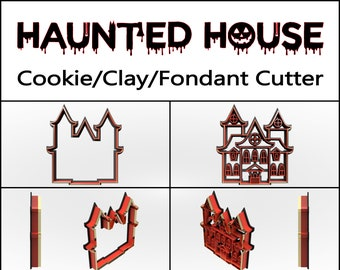 Haunted House Cookie Cutter, 3D Printed, Halloween Cookie Cutter,  Cookie Cutter, Custom Cookie, Clay Cutter, Fondant Cutter, FunOrders