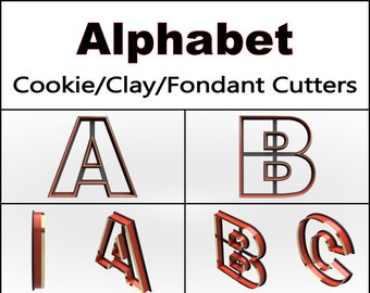 Alphabet Cookie Cutter, 3D Printed, Letter Cookie Cutter, Teacher Gift Cookie Cutter, Clay Cutter, Fondant Cutter, FunOrders