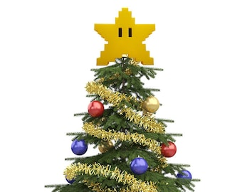 Super Mario Star Decoration - Tree Topper - Mario Star - Star Power - 3D Printed - SNES - N64 - Christmas Tree Topper - 4th of July Gift