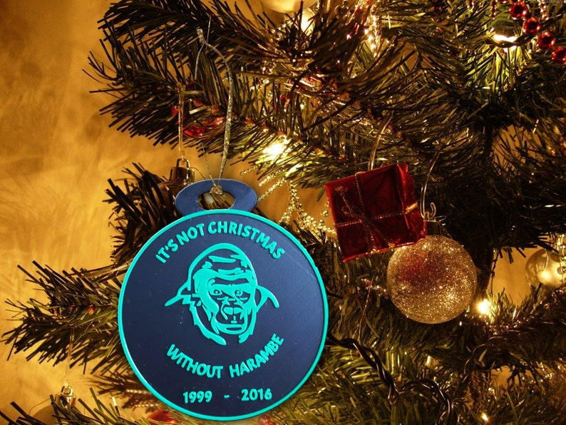 Harambe Christmas Ornament It's Not Christmas Without image 0