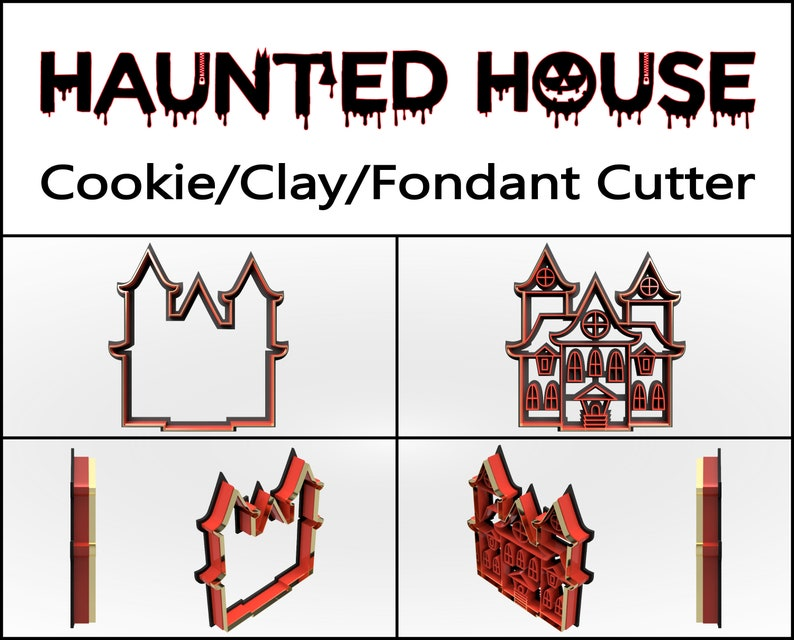 Haunted House Cookie Cutter 3D Printed Halloween Cookie image 0