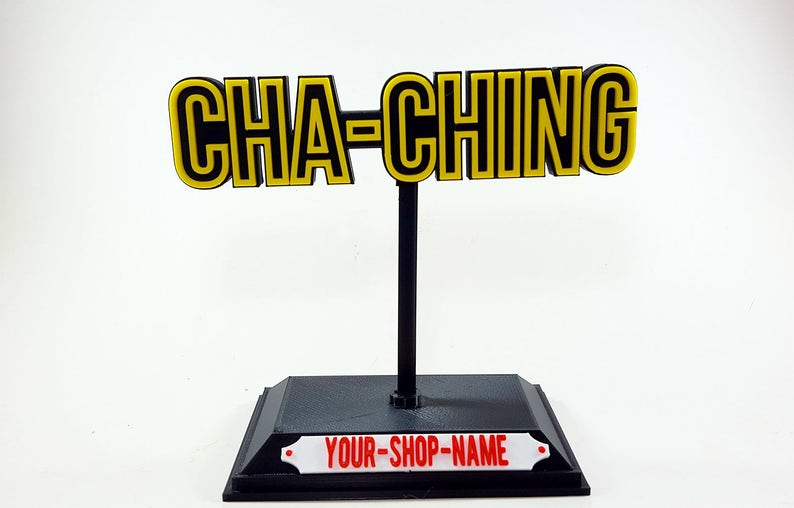 Cha Ching Personalized Desk Trophy with Custom Shop Name Tag image 0