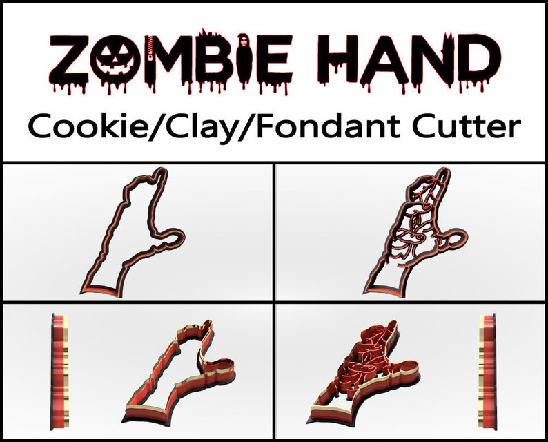 Zombie Hand Cookie Cutter 3D Printed Halloween Cookie image 0