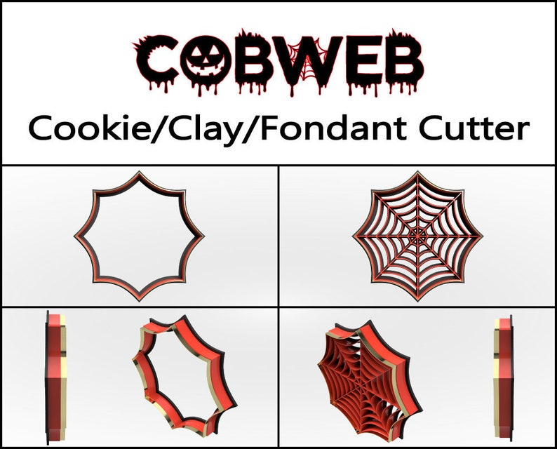 Cobweb Cookie Cutter 3D Printed Halloween Cookie Cutter image 0