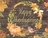 Watercolor quot Happy Thanksgiving quot clip arts, Autumn Leaves, Fall, watercolor clip art, hand painted, leaves, watercolour clip art