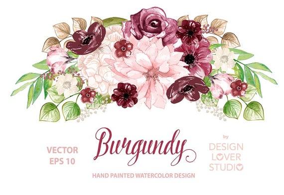 39e7ac3cf41 VECTOR Watercolor BURGUNDY design spring watercolor flower