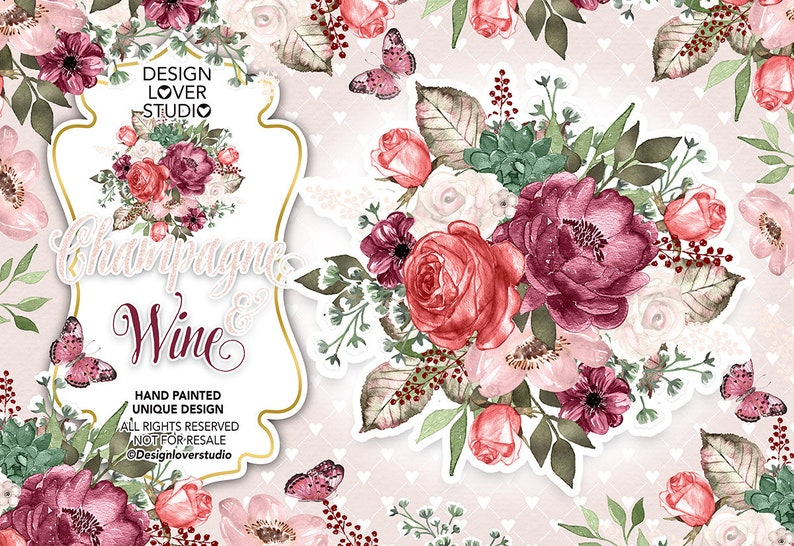 Watercolor CHAMPAGNE AND WINE design, summer, autumn watercolor flower,  Wine Floral Clipart, Wedding Clip Art, wedding, frames,
