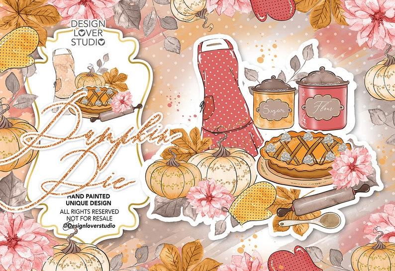 cake Fall fall clipart Autumn Leaves clip art hand painted leaves pumpkin thanksgiving Pumpkin Pie design
