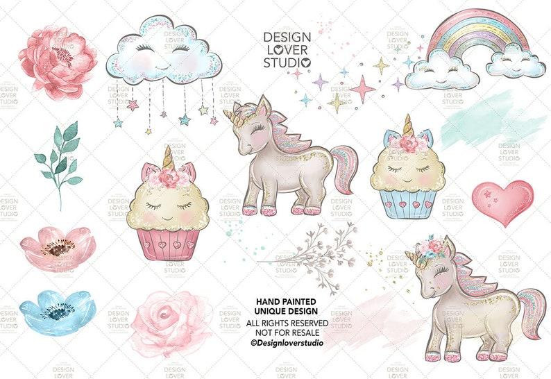 Children Clipart Baby Unicorns design Cute Baby Unicorns Clip Art Pastel Clipart cup cake Clipart cloud Unicorn Clipart rainbow