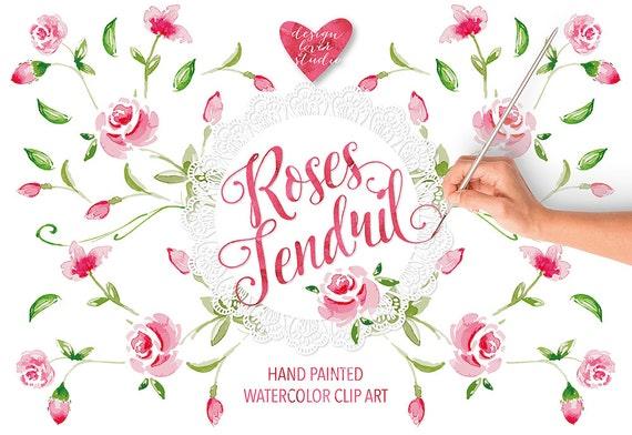 Aquarell Ranke Rosengarten Clipart Aquarell Blumen Rote Etsy