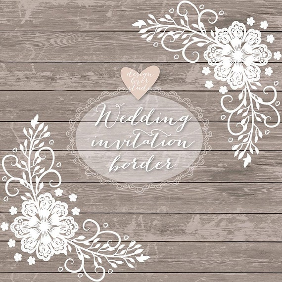 Premium VECTOR Lace Border Rustic Wedding Invitation