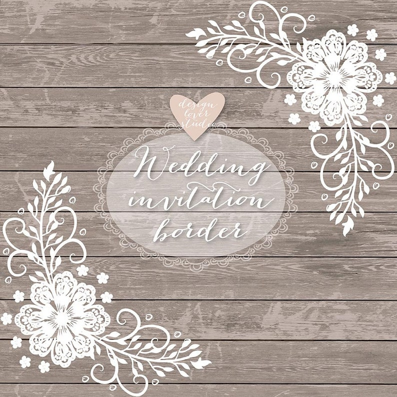 Wedding Invite Borders: Premium VECTOR Lace Border Rustic Wedding Invitation