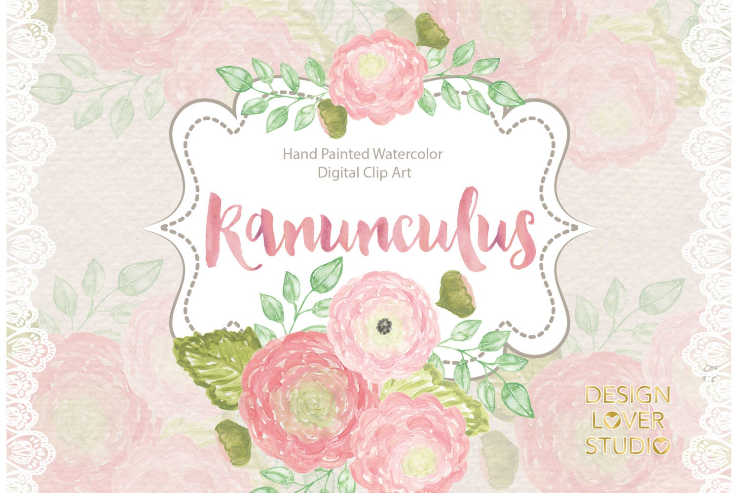 Watercolor Ranunculus Flowers Clipart Spring Flower Clipart Etsy