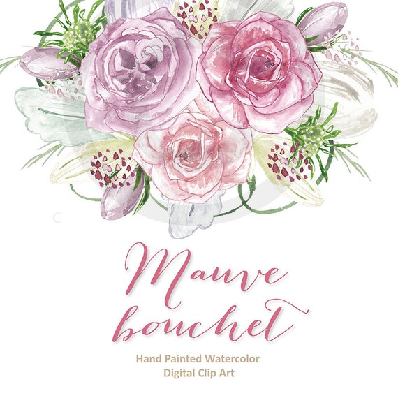Watercolor rose mauve clipart spring flower clipart pink etsy image 0 mightylinksfo
