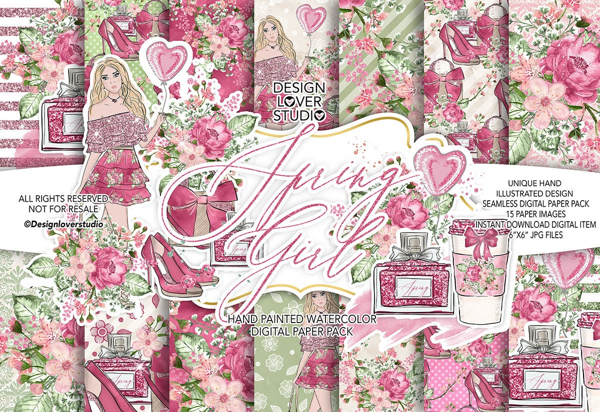 Spring Girl Digital Paper Pack Spring Watercolor Flower Etsy