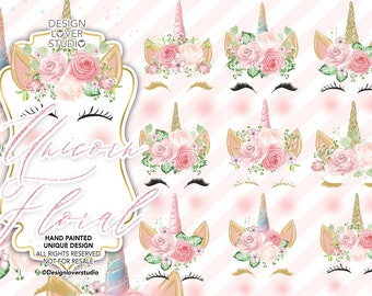 Unicorn Faces Floral Clipart, rainbow, pink and gold watercolor unicorn horn clip art, glitter unicorn graphics, baby shower, weddings