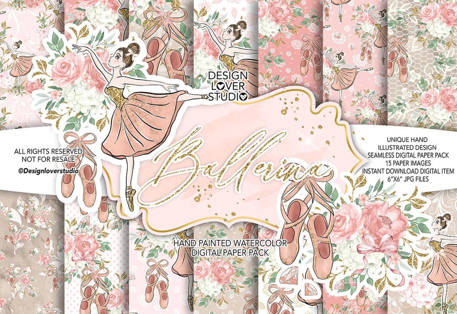 ballerina digital paper pack, spring, summer, watercolor flower, floral pattern, rose clip art, ballet, ballet shoes, peony