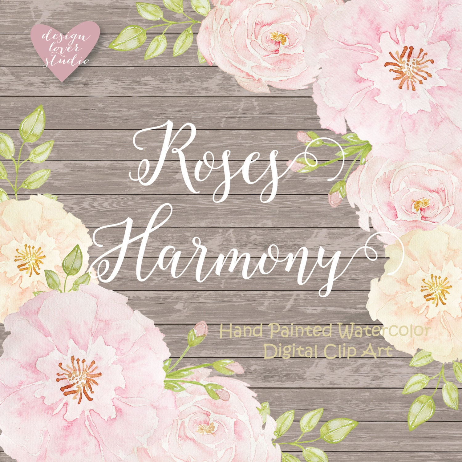 Watercolor Rose Blush Clipart Spring Flower Clipart Pink Etsy