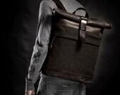 Wool felt backpack Men's backpack Roll top backpack Winter backpack Upcycled backpack Original backpack Men's gift Christmas gift